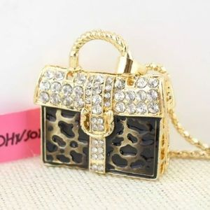 NWT Betsey Johnson leopard purse necklace